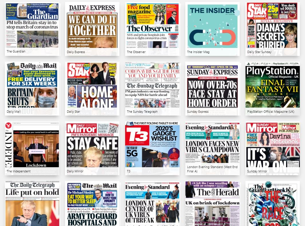 Front covers of UK newspapers