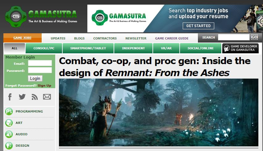 Website reference from Gamasutra