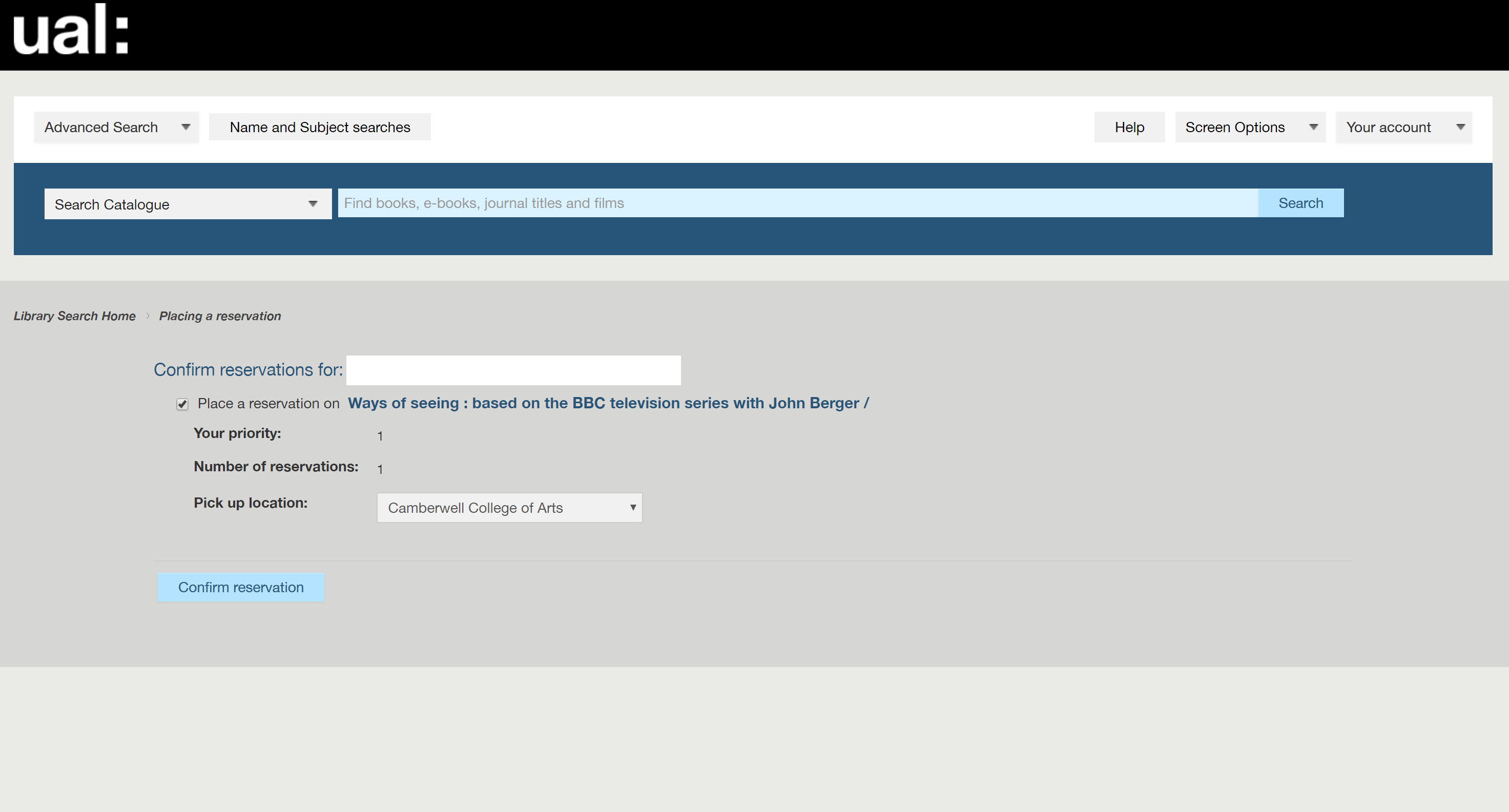 University of the Arts London Libsearch reservation page example image