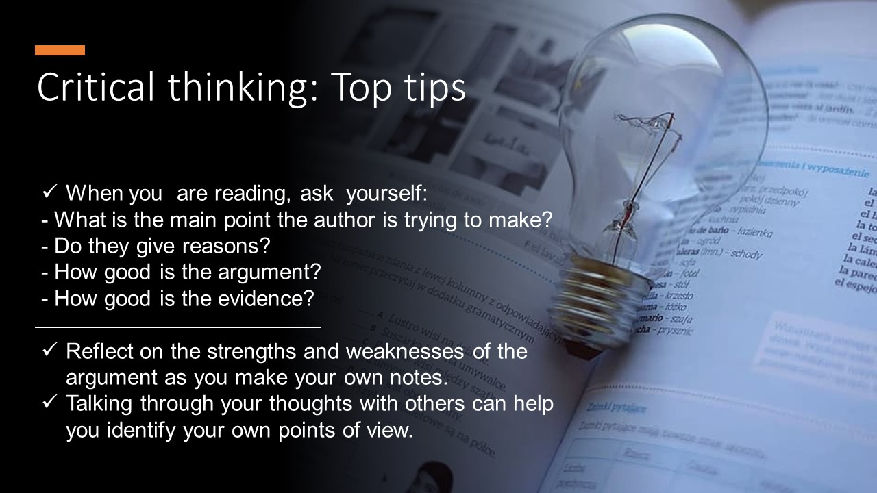 Top Tips for critical thinking. Full text available in the document PDF link below.