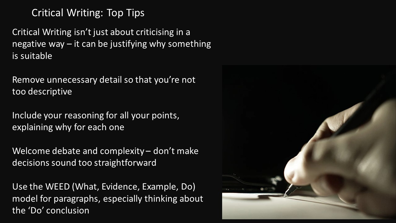Critical Writing top tips image. For full text see PDF document below