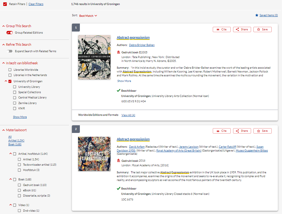 screenshot SmartCat. search results
