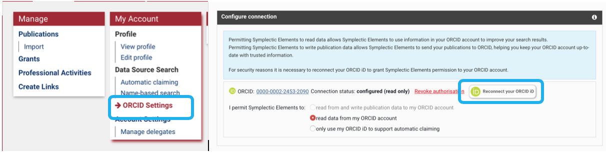 ORCID settings link in the My Account Menu. The Configure connection box with the reconnect your ORCID id button.