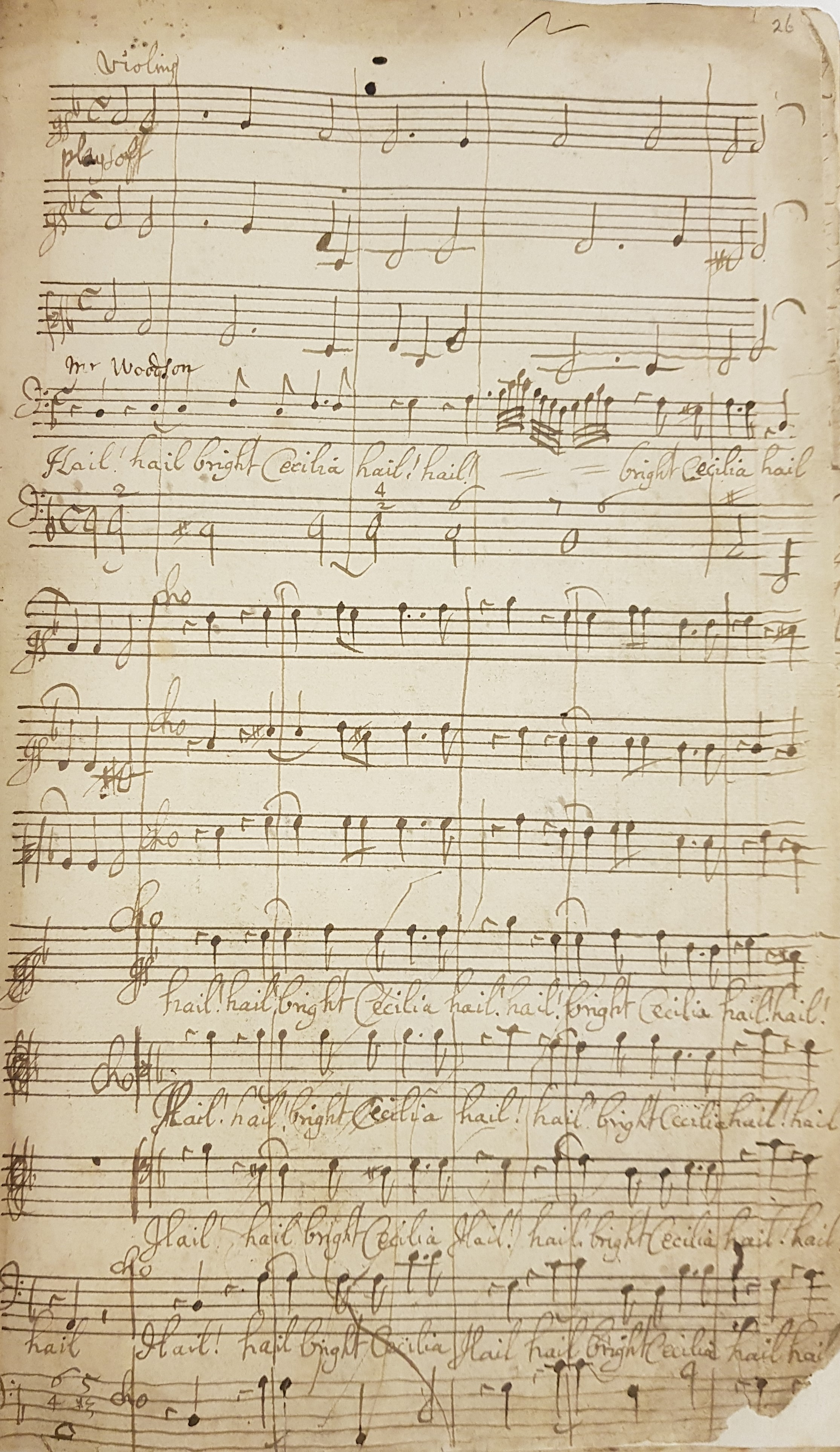 A pages from Purcell's 'Hail, bright Cecilia!' (MS. Mus. c. 26)