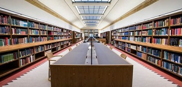 View of the Mackerras Reading Room from the west end.