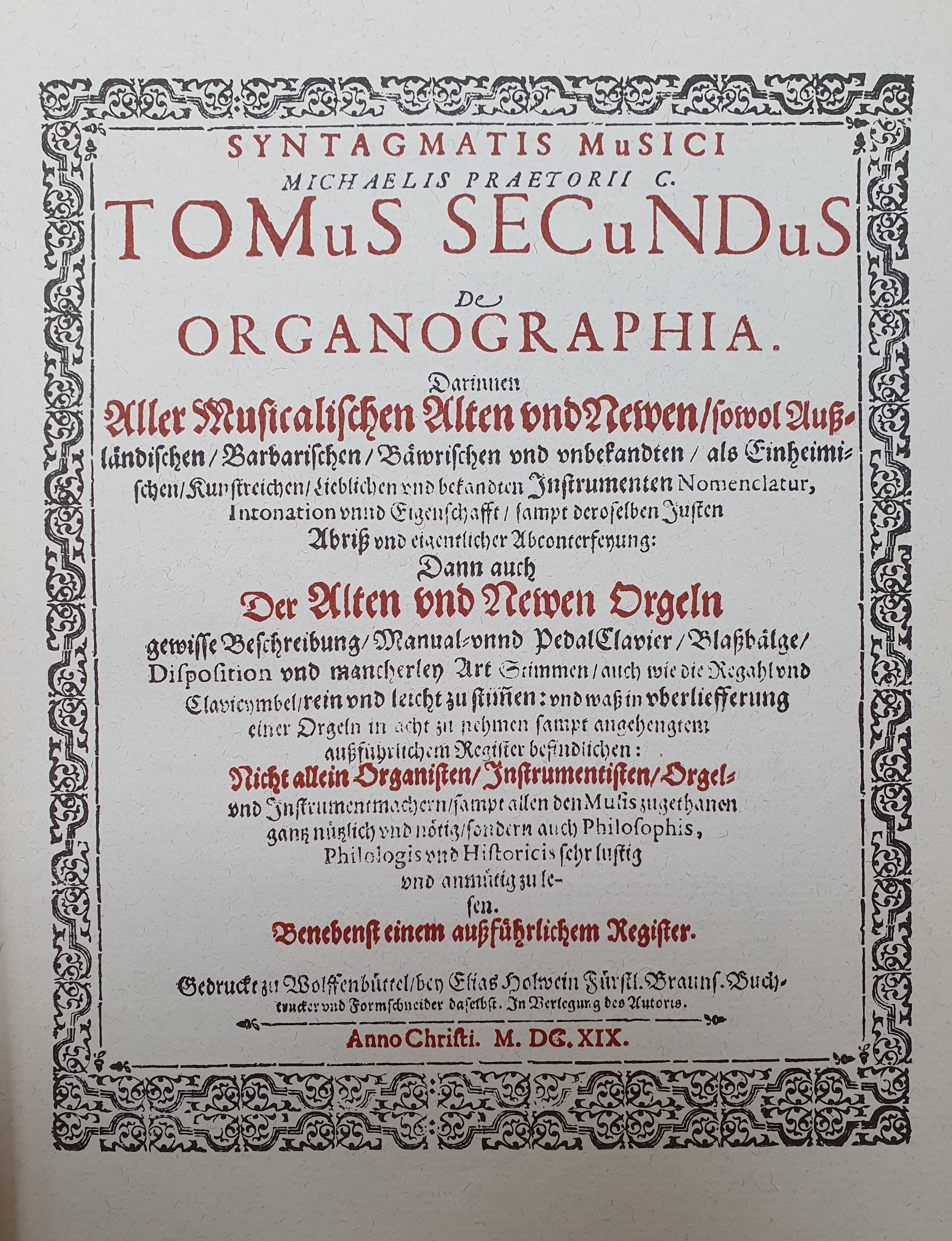 Title page of Michael Praetorius' Syntagma Musicum II: De organographia (1619)