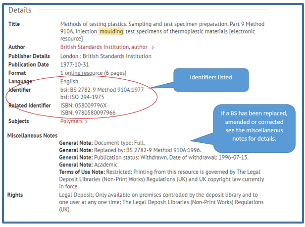 """""""Image shows the detailed bibliographic record. See 'Identifier' for British Standard numbers, see 'Related Identifer' for ISBNs. See 'Miscellaneous Notes' to view information on whether a standard has been replaced, amended or corrected"""""""