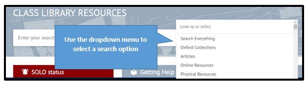 Screenshot of dropdown menu showing searching options