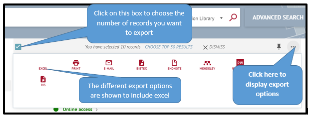 Image shows how to export records