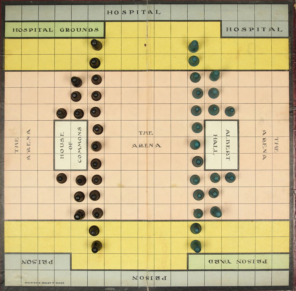 Suffragetto board, around 1917 showing board and game pieces