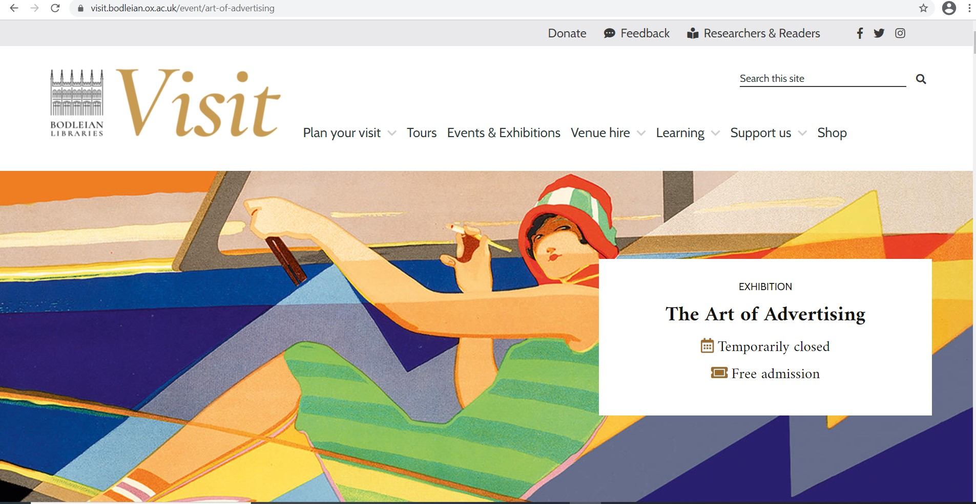 Home page of Art of Advertising exhibition online