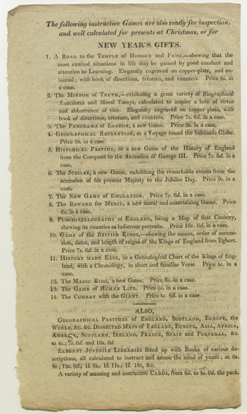 Advertisement for Harris (late Newbery) describing New year's gifts, including games, around 1815