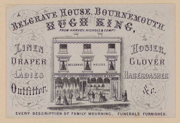 Trade card for Hugh King of Bournemouth, showing his premises