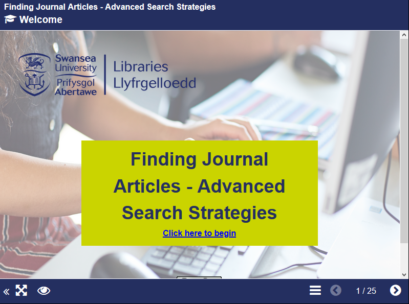 Finding Journal Artciles Advanced Short Course image