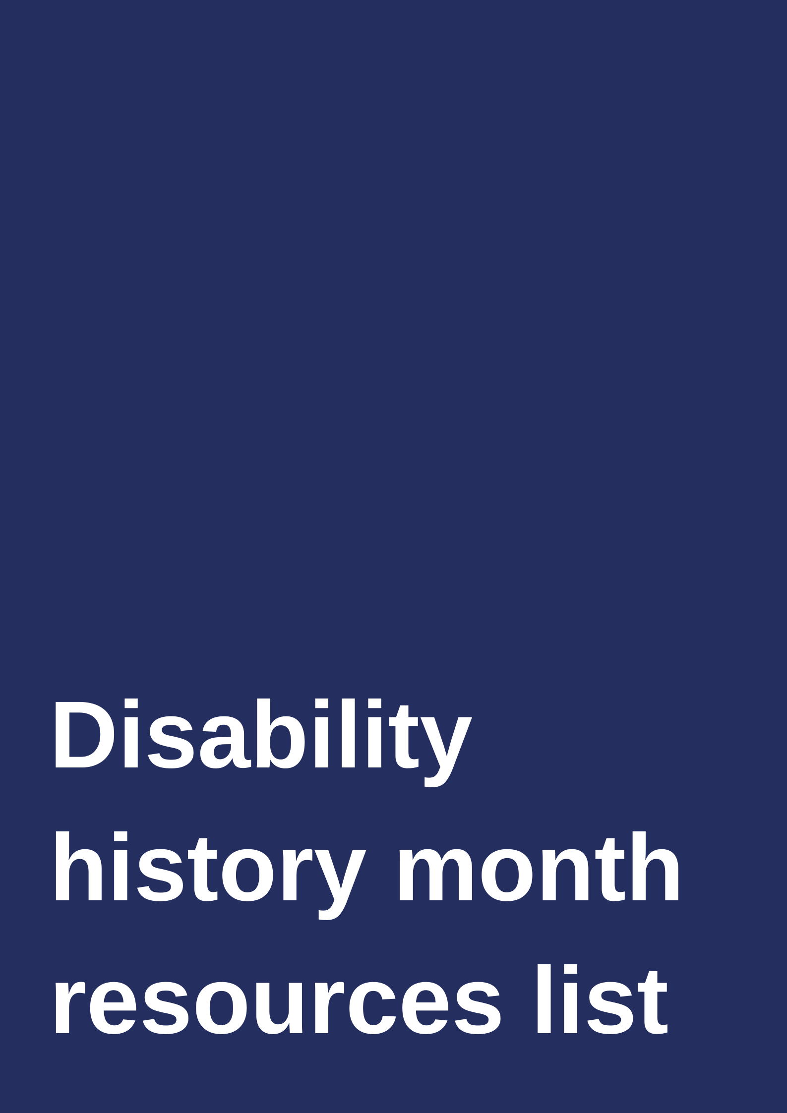 Disability history month reading list