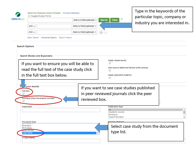 Type your keywords into the search bar and then select the case study option in the document type list.