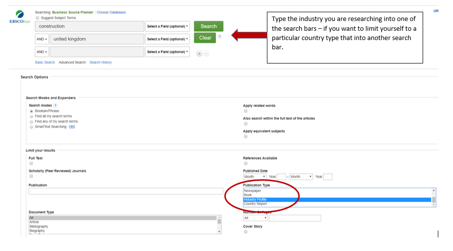 Illustraion of Business Source Premier search screen