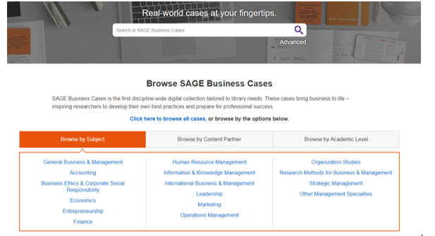 picture of Sage business case search screen.