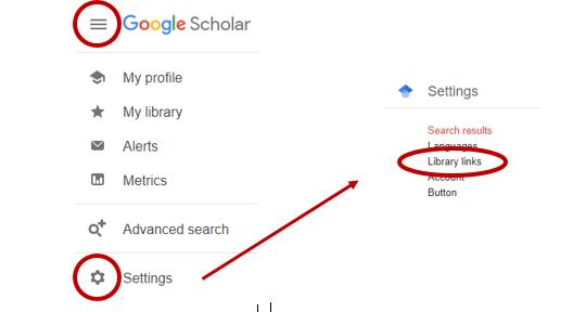 Illustration of Google Scholar menu
