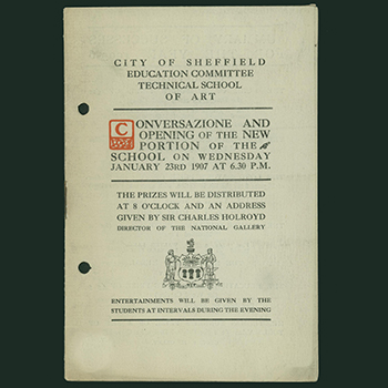 Front page of the 1907 Conversazione programme, Sheffield Technical School of Art.