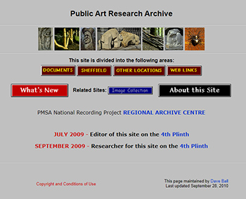 Screenshot of the Public Art Research Archive webpage.