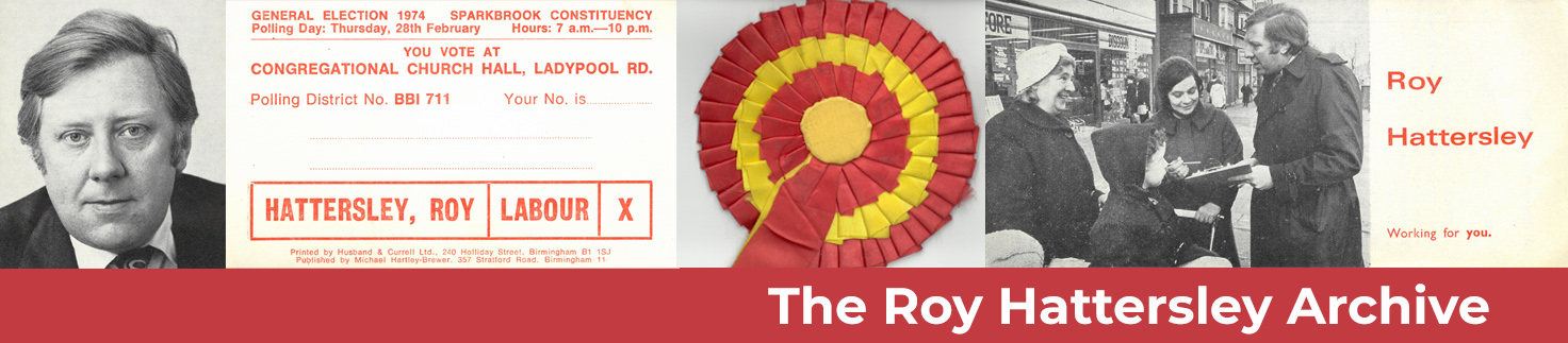 Banner image For the Roy Hattersley Archive