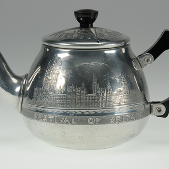 Close up of a Festival of Britain teapot.