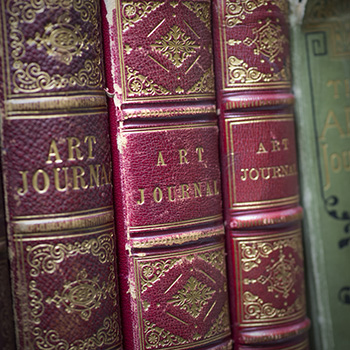 Close up of the spines of the Art Journal.