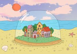 town within a glass bubble