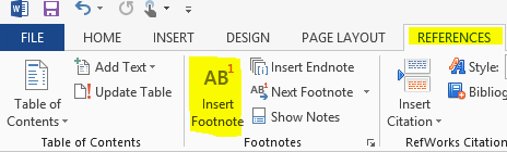 References ribbon in Microsoft Word