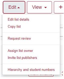 New List Edit, Edit Menu