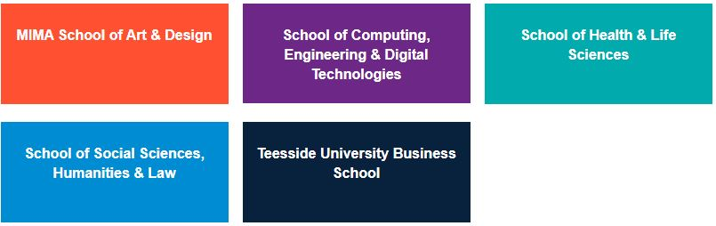 Five boxes, each containing one of the School names within Teesside University: MIMA School of Art and Design; School of Computing, Engineering and Digital Technologies; School of Health and Life Sciences; School of Social Sciences, Humanities and Law; and Teesside University Business School.