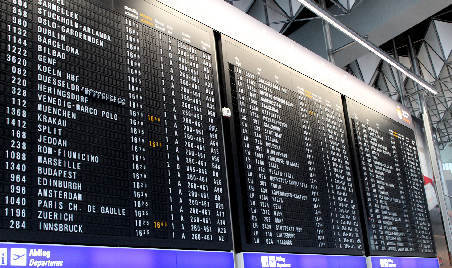 Airport departures board