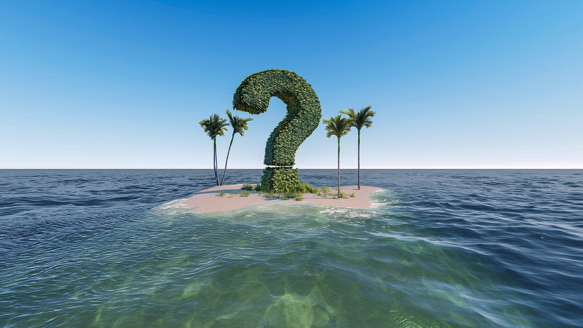 question mark and palm trees on a desert island