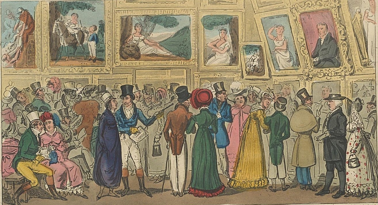 Tom and Jerry, and other people attend the Royal Academy in London to view an exhibition of paintings.