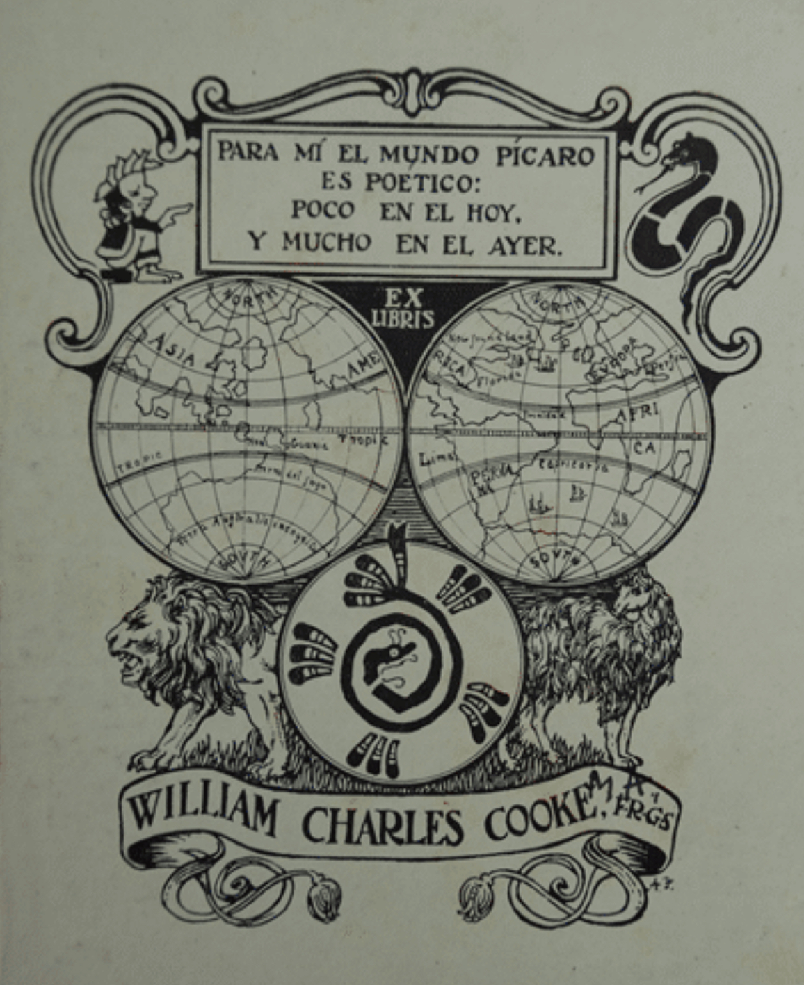 Bookplate with a motto on top, underneath two world globes placed on two lions. At the bottom is the name 'William Charles Cooke'.