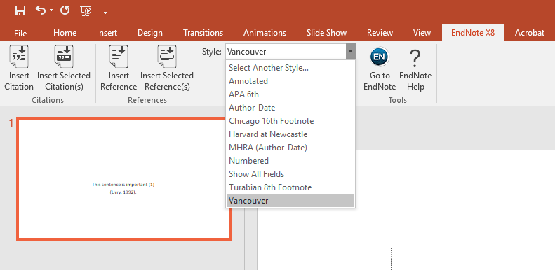 Screen shot of Endnote ribbon in MS PowerPoint
