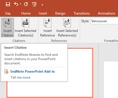Screen shot of insert citation in MS PowerPoint