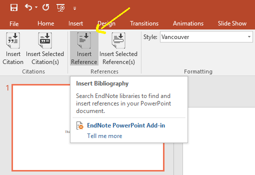 Screen shot of insert reference in MS PowerPoint
