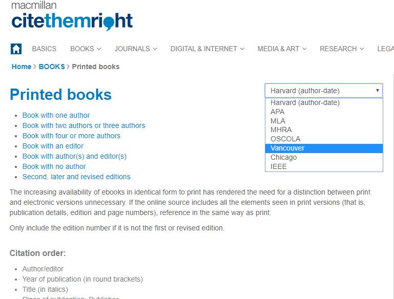Screenshot of Cite Them Right website