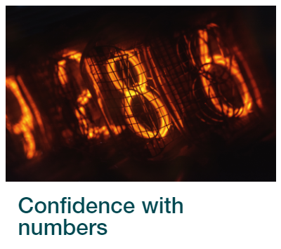 Skills for Study link to Confidence with numbers module.  Image shows orange lights in the shape of different numbers, in cages, on a black background.
