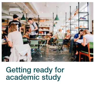 Skills for Study link to Getting Ready for Academic Study module.  Image shows groups of people studying.
