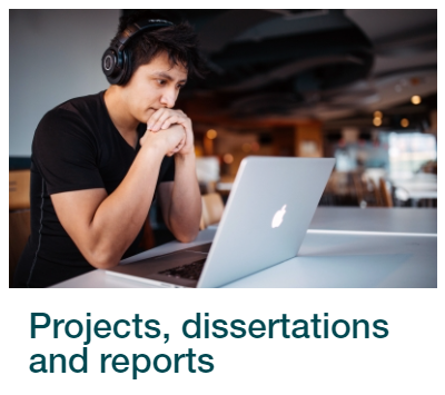 Skills for Study link to projects, dissertations and reports.  Image shows a student wearing headphones and concentrating on a laptop screen.