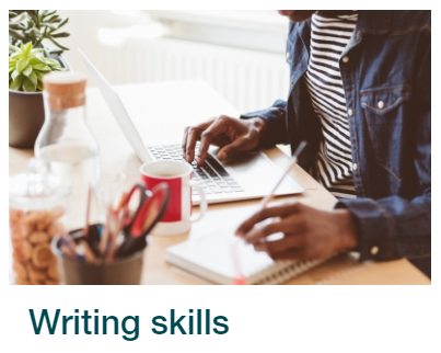 Skills for Study link to writing skills.  Image shows a person working on a laptop.