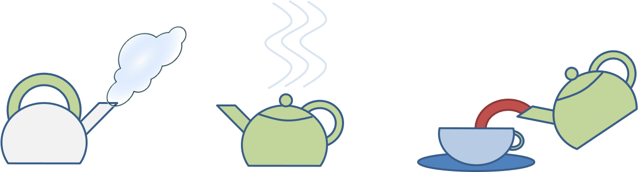 A kettle steams; a tea-pot radiates heat; a brown-red liquid is poured from the teapot into a cup.