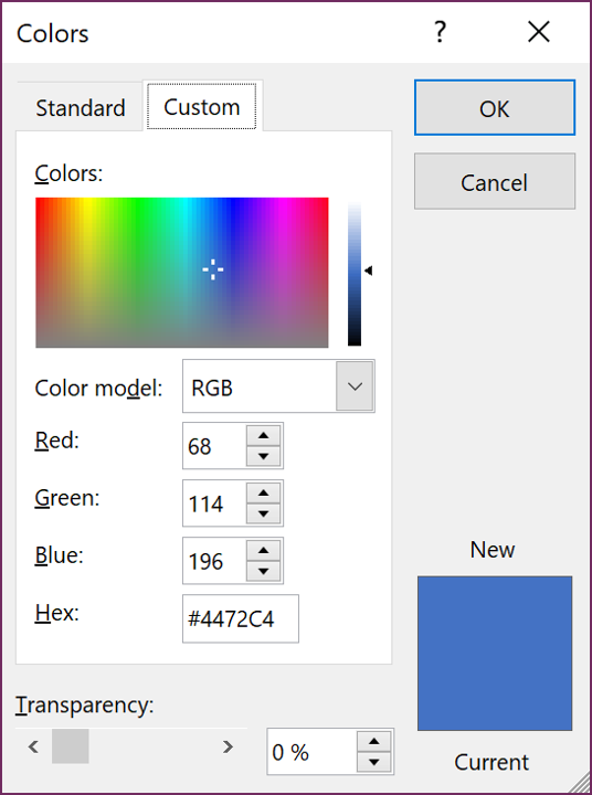 The Colors dialgoue includes a palette, numeric colour modeller, and transparency options