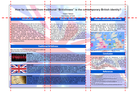Landscape poster with three uniform-width columns. The title crosses all three columns, and a box at the bottom left crosses the first two.