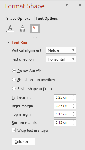 Margin controls can be found on the Format Shape side panel: Format Shape > Text Options > Textbox
