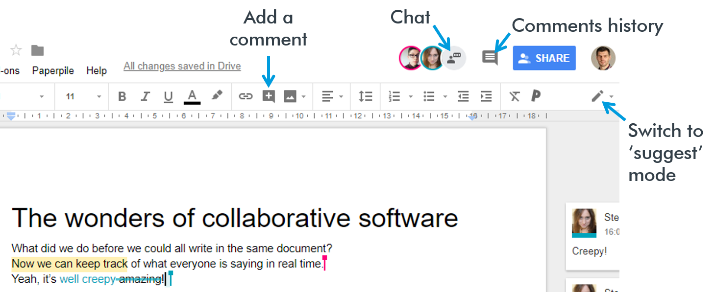 Collaborating in a Google Doc. Chat; Comment; Suggest.