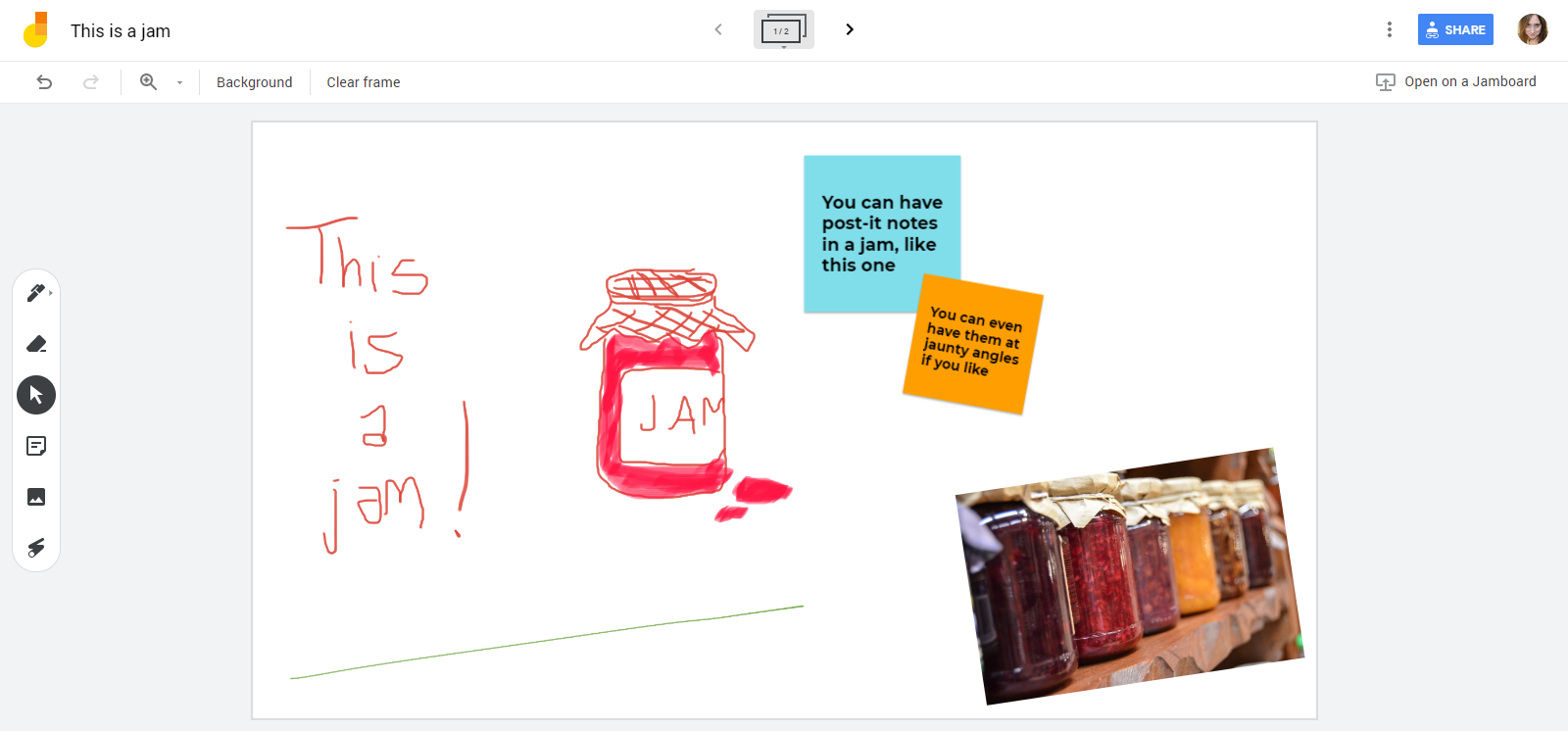 We've scribbled all over this jam and drawn a picture of some jam. We've also added some post-its and a photo.
